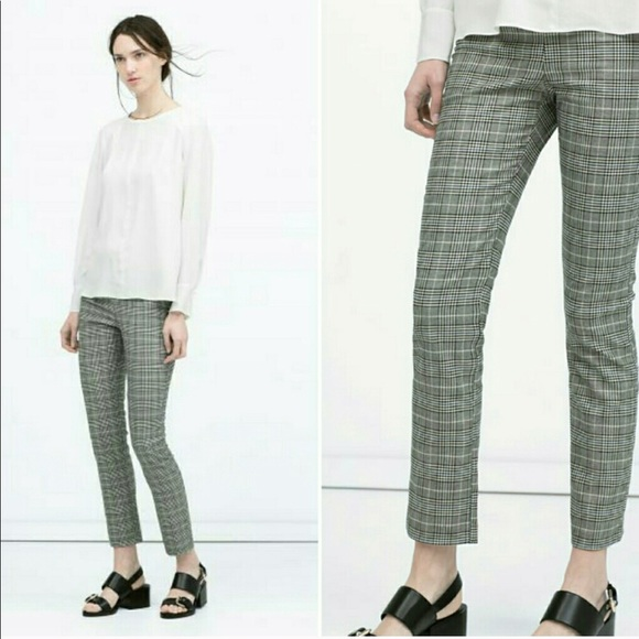 Zara Side ZIP Elastic Waist Plaid Ankle Pants L My Posh Closet